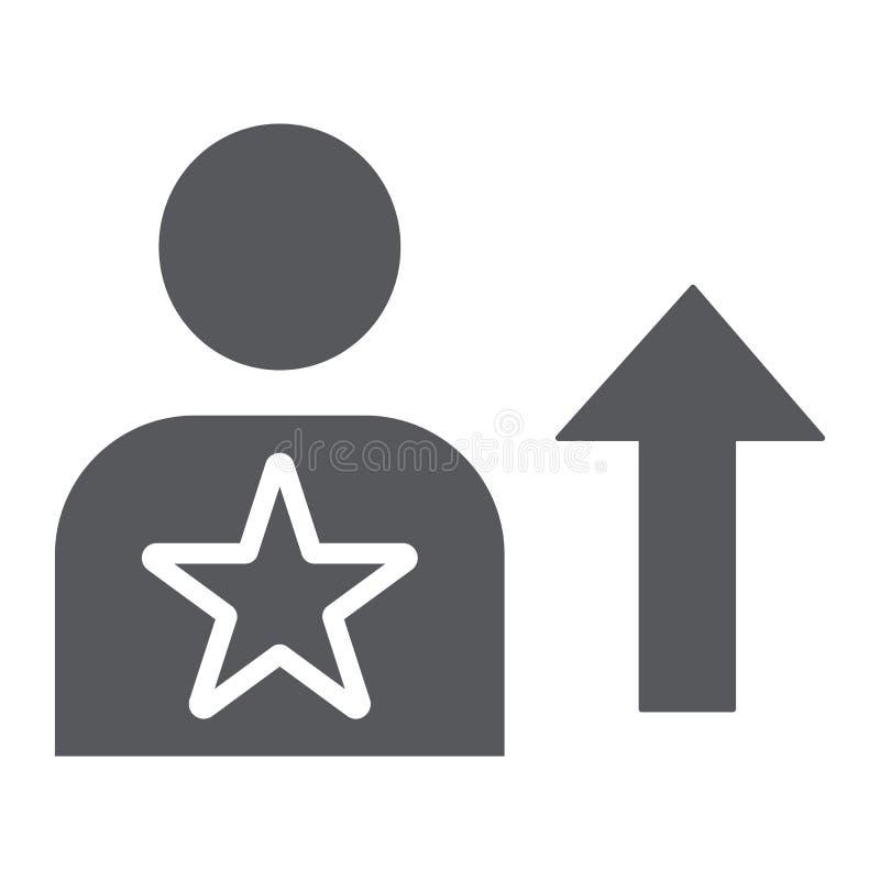 Ícone do glyph da habilidade, empregado e avaliação, sinal da pessoa, gráficos de vetor, um teste padrão contínuo em um fun ilustração royalty free