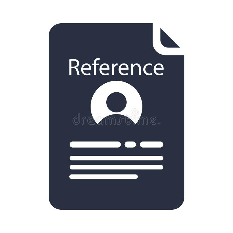 Ícone do glyph da letra de referência Letra de recomendação Referência de emprego Aplicação de trabalho Símbolo da silhueta ilustração stock