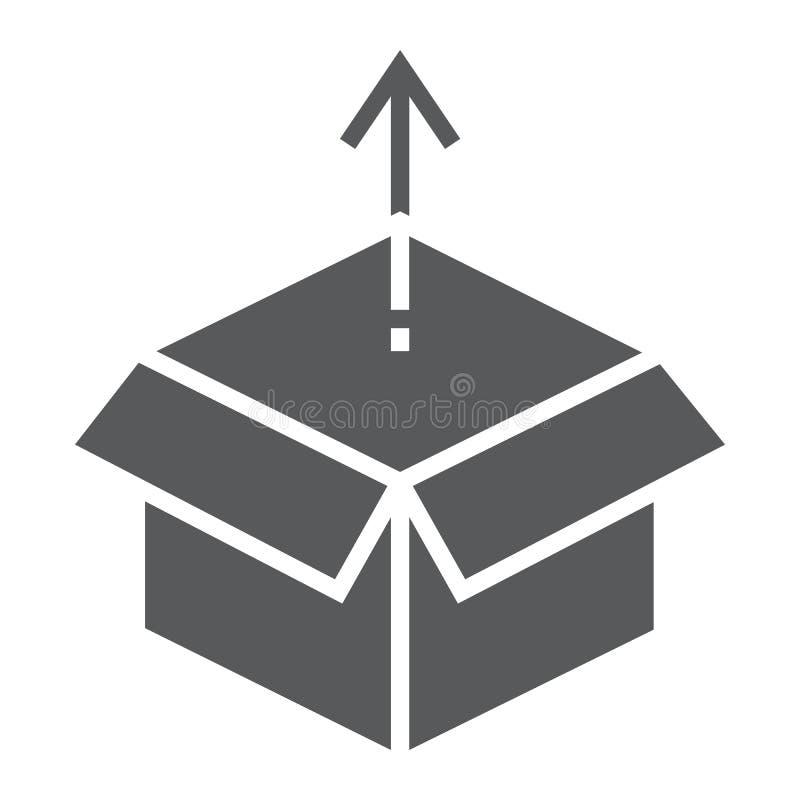Ícone do glyph da liberação de produto, desenvolvimento ilustração stock