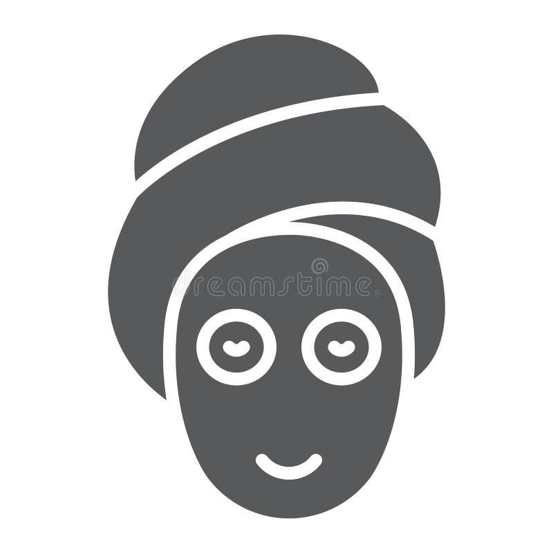 Ícone do glyph da máscara da beleza, pele e beleza, sinal do cuidado da cara, gráficos de vetor, um teste padrão contínuo em um f ilustração do vetor