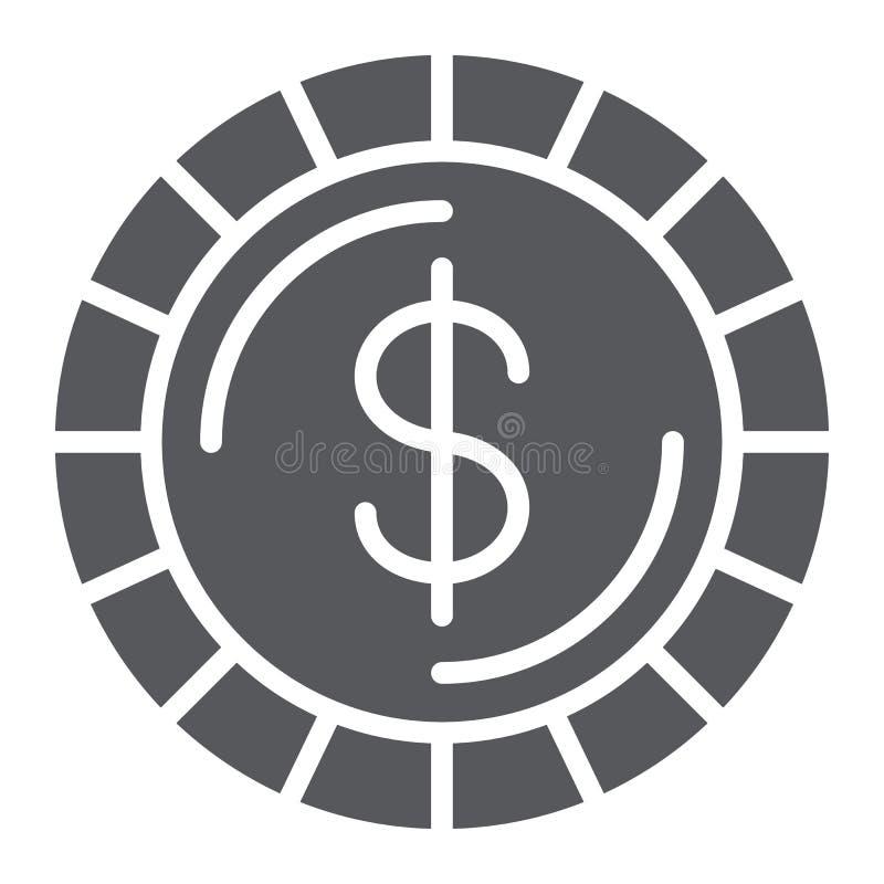 Ícone do glyph da moeda do dinheiro, finança e dinheiro, sinal do centavo, gráficos de vetor, um teste padrão contínuo em um fund ilustração royalty free