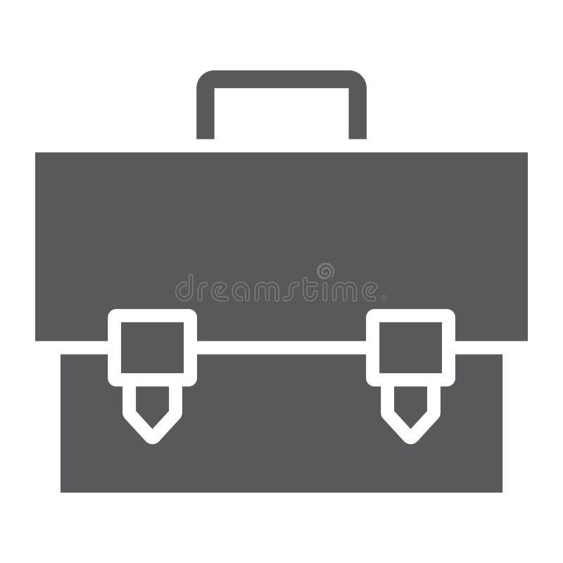 Ícone do glyph da pasta, saco e mala de viagem, sinal do caso, gráficos de vetor, um teste padrão contínuo em um fundo branco ilustração royalty free