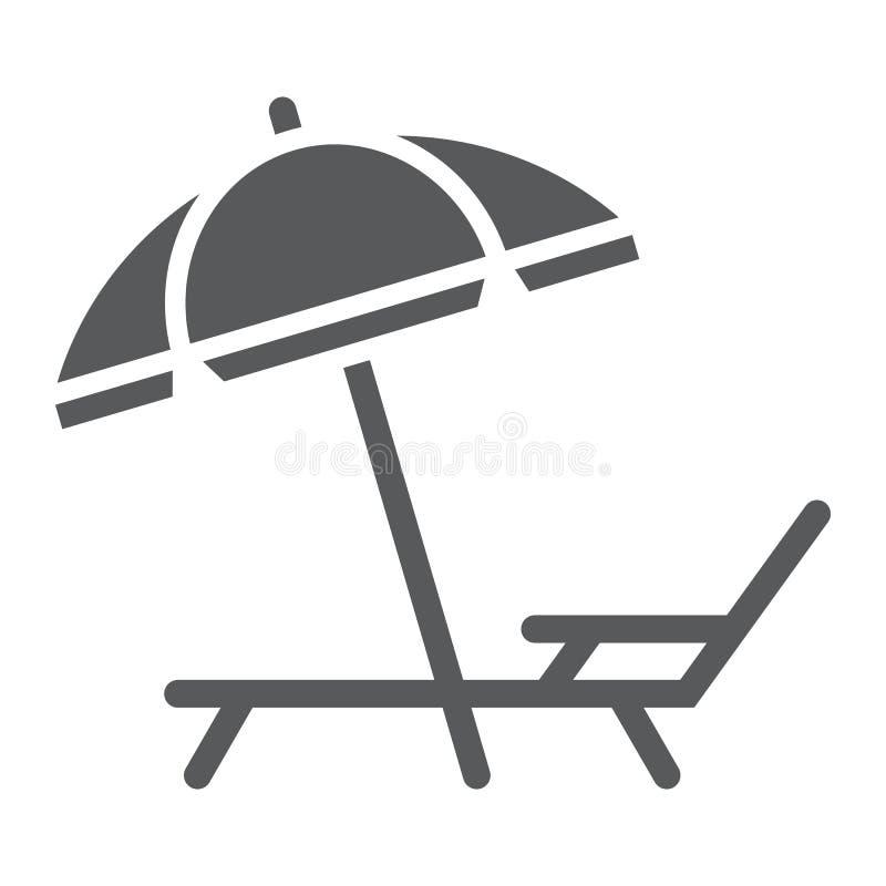 Ícone do glyph da sala de estar do guarda-chuva e de sol, curso ilustração stock