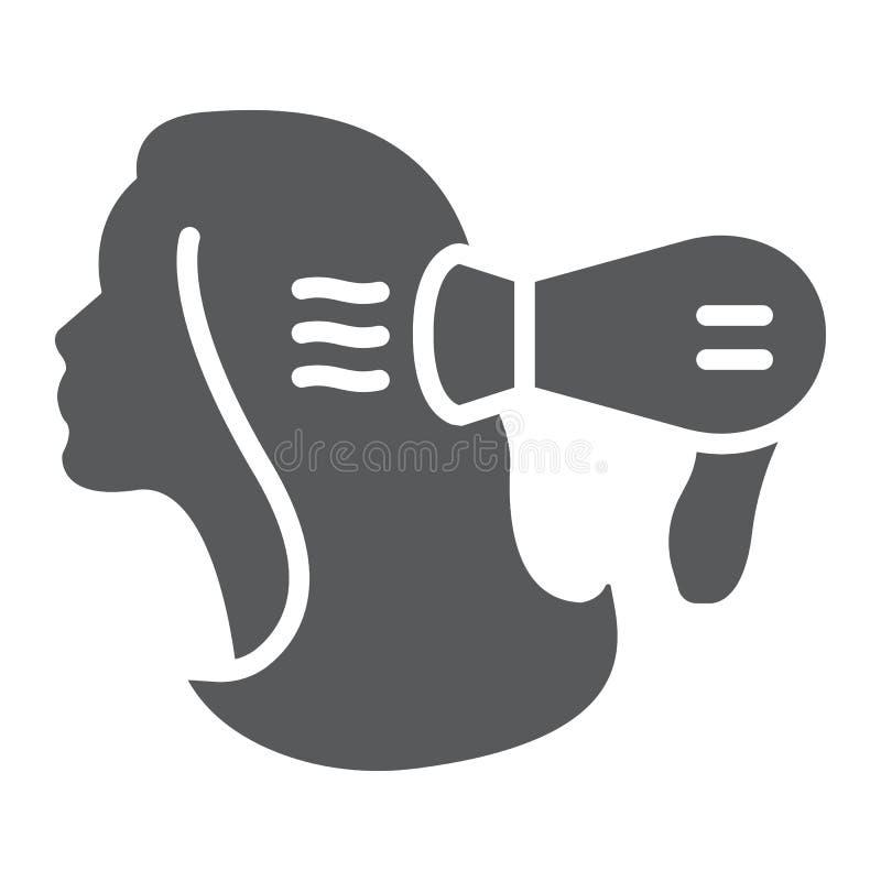 Ícone do glyph da secagem, cabeleireiro e blowdryer, sinal mais seco do cabelo, gráficos de vetor, um teste padrão contínuo em um ilustração stock