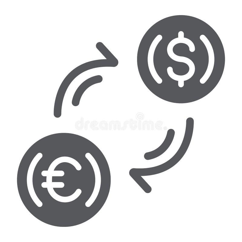 Ícone do glyph da troca de dinheiro, finança e operação bancária, sinal de transferência de moeda, gráficos de vetor, um teste pa ilustração stock