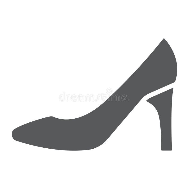 Ícone do glyph das sapatas das mulheres, fêmea e calçados, sinal do salto alto, gráficos de vetor, um teste padrão contínuo em um ilustração royalty free