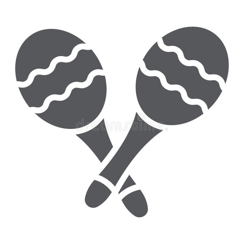 Ícone do glyph de Maracas, música e percussão, sinal mexicano do instrumento musical, gráficos de vetor, um teste padrão contínuo ilustração royalty free