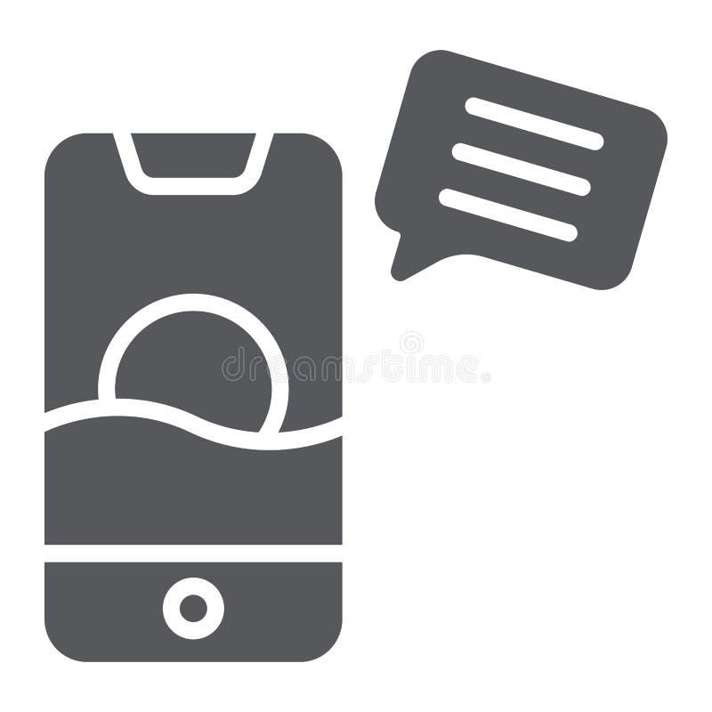 Ícone do glyph de Sms, correio e telefone, mensagem no sinal do smartphone, gráficos de vetor, um teste padrão contínuo em um fun ilustração royalty free