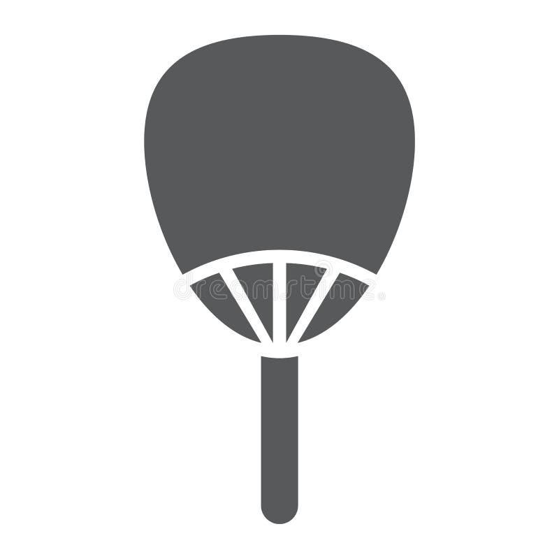 Ícone do glyph de Uchiwa, asiático e acessórios, sinal japonês do fã, gráficos de vetor, um teste padrão contínuo em um fundo bra ilustração royalty free