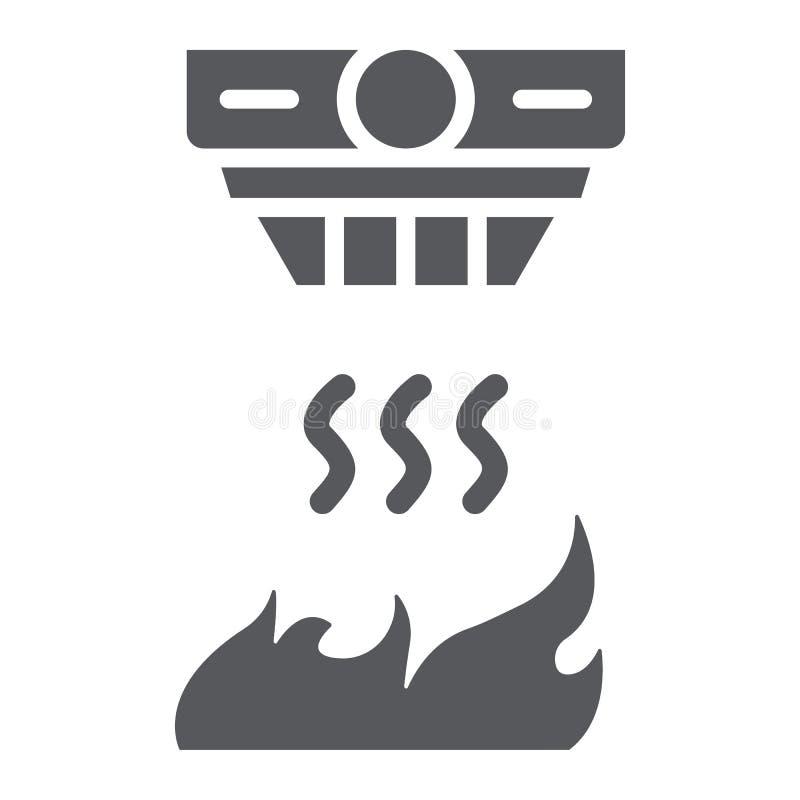 Ícone do glyph do detector de fogo, alarme e equipamento, sinal do detector de fumo, gráficos de vetor, um teste padrão contínuo  ilustração royalty free