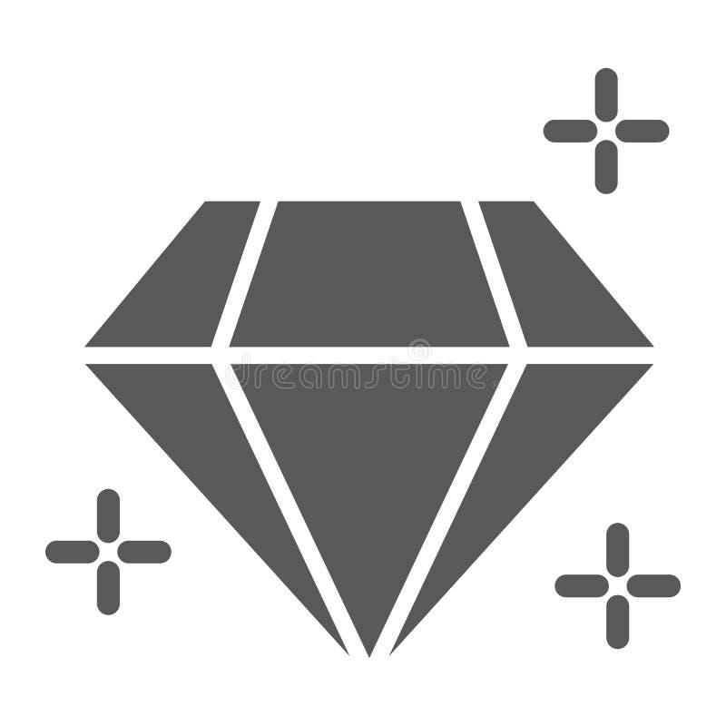 Ícone do glyph do diamante, joia e acessório, sinal brilhante, gráficos de vetor, um teste padrão contínuo em um fundo branco ilustração royalty free