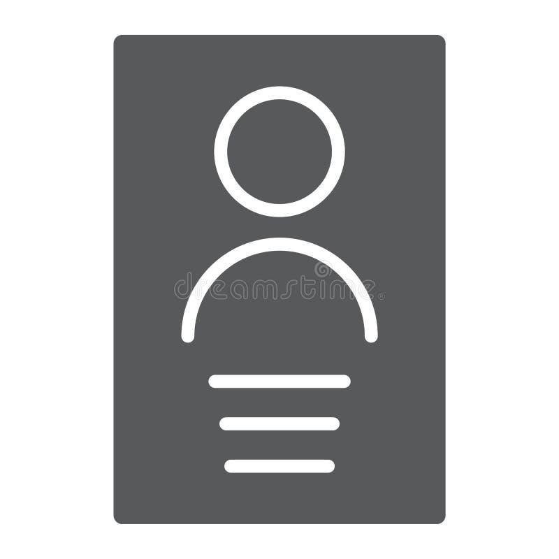 Ícone do glyph dos dados, arquivo e informação pessoais, sinal do documento, gráficos de vetor, um teste padrão contínuo em ilustração do vetor