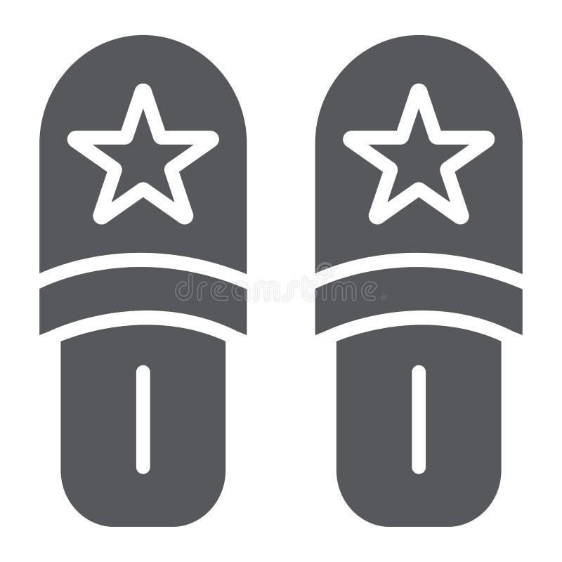 Ícone do glyph dos deslizadores, roupa e nightwear, sinal dos calçados, gráficos de vetor, um teste padrão contínuo em um fundo b ilustração do vetor