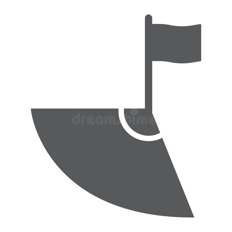 Ícone do glyph do futebol, esporte e campo de canto, sinal de canto do futebol, gráficos de vetor, um teste padrão contínuo em um ilustração stock