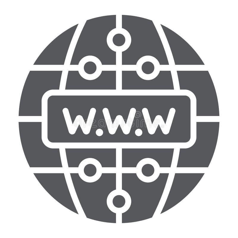 Ícone do glyph do Internet, Web site e globo, sinal da rede, gráficos de vetor, um teste padrão contínuo em um fundo branco ilustração do vetor