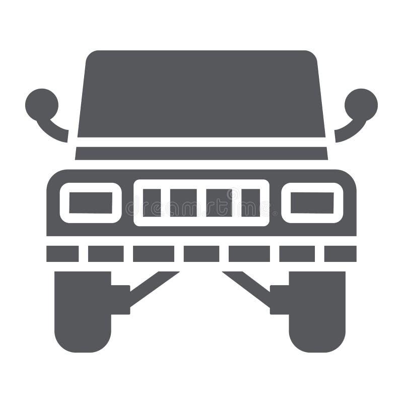Ícone do glyph do jipe, transporte e automóvel, sinal do suv, gráficos de vetor, um teste padrão contínuo em um fundo branco ilustração stock