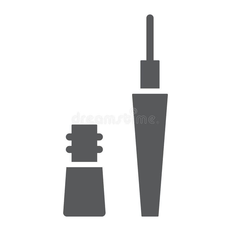 Ícone do glyph do lápis de olho, composição e cosmético, sinal do realçador do olho, gráficos de vetor, um teste padrão contínuo  ilustração do vetor