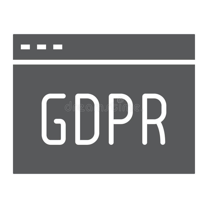 Ícone do glyph do local de Gdpr, Web page e Web site, sinal do navegador, gráficos de vetor, um teste padrão contínuo em um f ilustração stock
