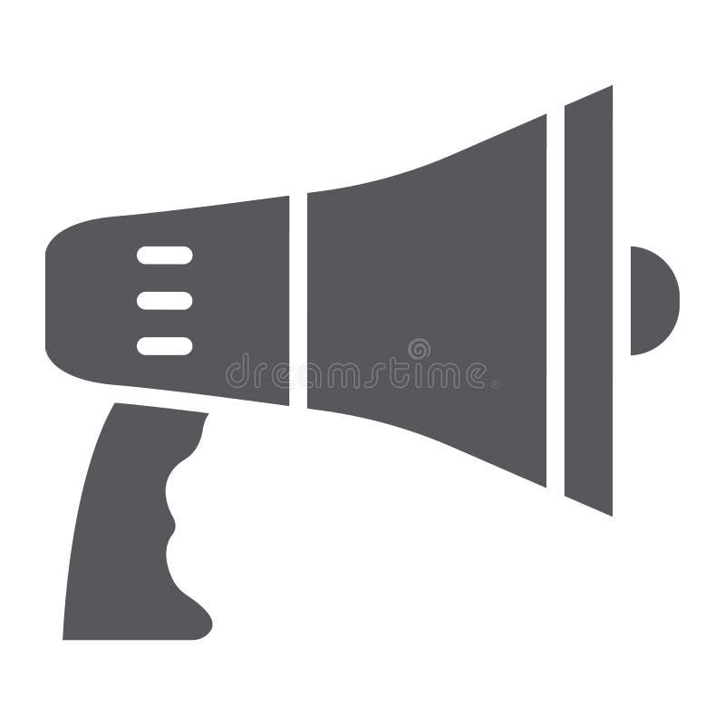 Ícone do glyph do megafone, anúncio e altifalante, sinal do megafone, gráficos de vetor, um teste padrão contínuo em um branco ilustração royalty free