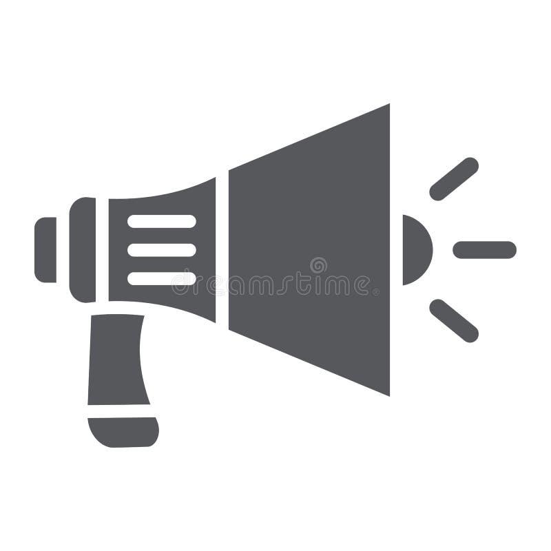 Ícone do glyph do megafone, anúncio e orador, sinal do altifalante, gráficos de vetor, um teste padrão contínuo em um fundo branc ilustração stock