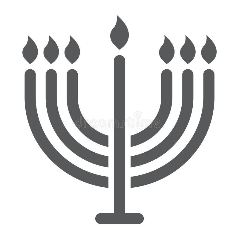 Ícone do glyph do menorah, hanukkah e religião grandes, sinal da vela, gráficos de vetor, um teste padrão contínuo em um fundo br ilustração stock