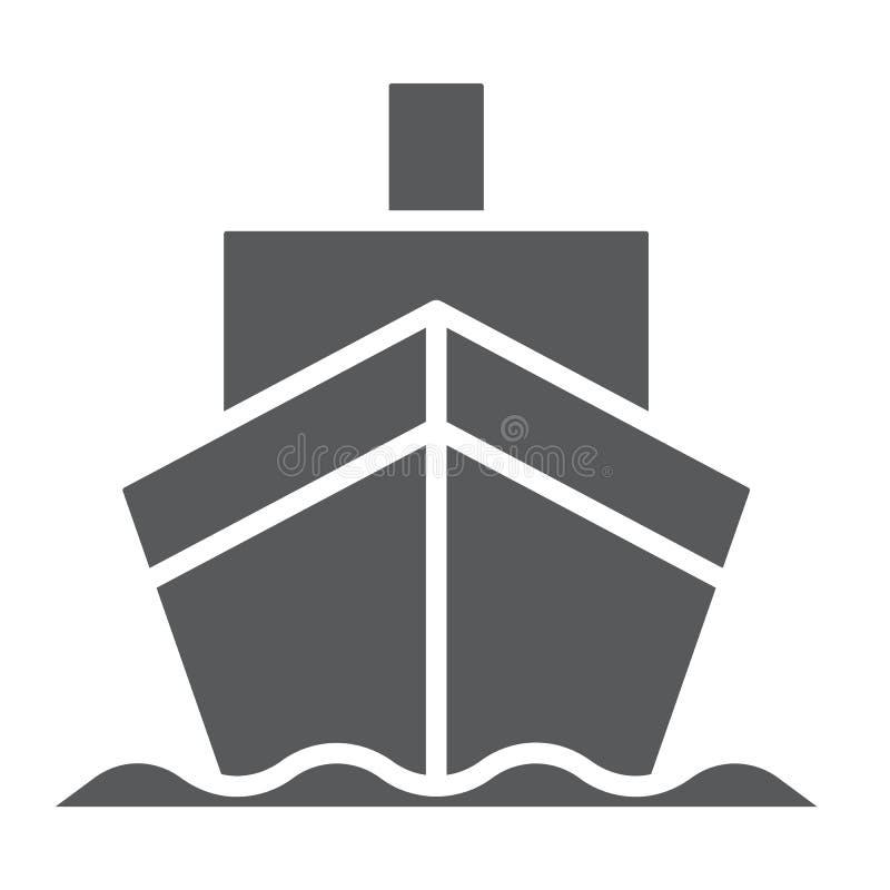 Ícone do glyph do navio de carga, transporte e entrega, sinal do cruzador, gráficos de vetor, um teste padrão contínuo em um fund ilustração do vetor