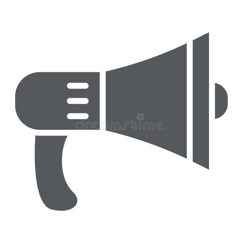 Ícone do glyph do orador, alto e anúncio, sinal do megafone, gráficos de vetor, um teste padrão contínuo em um fundo branco ilustração stock