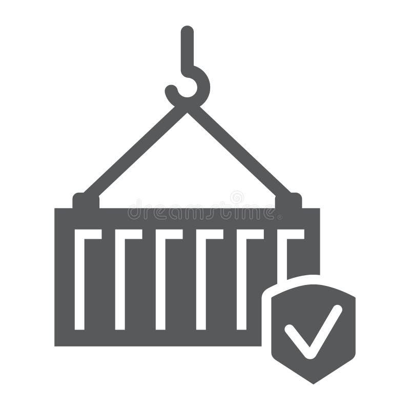 Ícone do glyph do seguro de carga, entrega e proteção, sinal de segurança do transporte, gráficos de vetor, um teste padrão contí ilustração do vetor