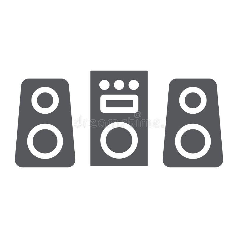 Ícone do glyph do sistema de som, partido e música, sinal do sistema estereofônico, gráficos de vetor, um teste padrão contínuo e ilustração stock
