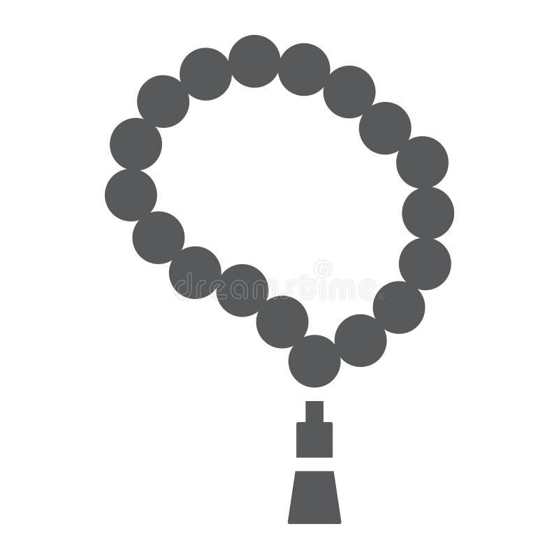 Ícone do glyph do tasbih, árabe e Islã muçulmanos, sinal islâmico do rosário, gráficos de vetor, um teste padrão contínuo em um f ilustração royalty free