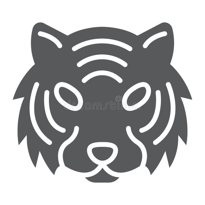 Ícone do glyph do tigre, animal e jardim zoológico, sinal do gato ilustração do vetor