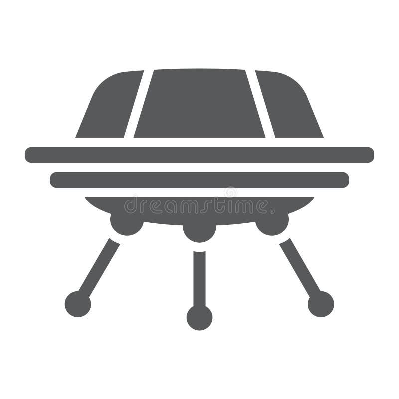 Ícone do glyph do UFO, espaço e nave espacial, sinal da nave espacial, gráficos de vetor, um teste padrão contínuo em um fundo br ilustração royalty free