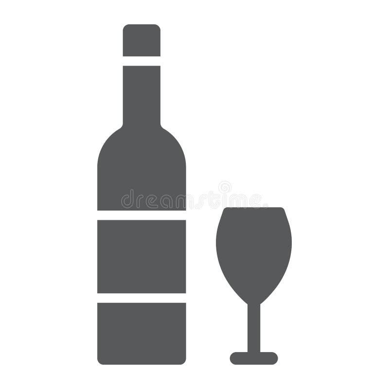 Ícone do glyph do vinho, judaico hebreus e bebida, garrafa e sinal de vidro, gráficos de vetor, um teste padrão contínuo em um fu ilustração stock