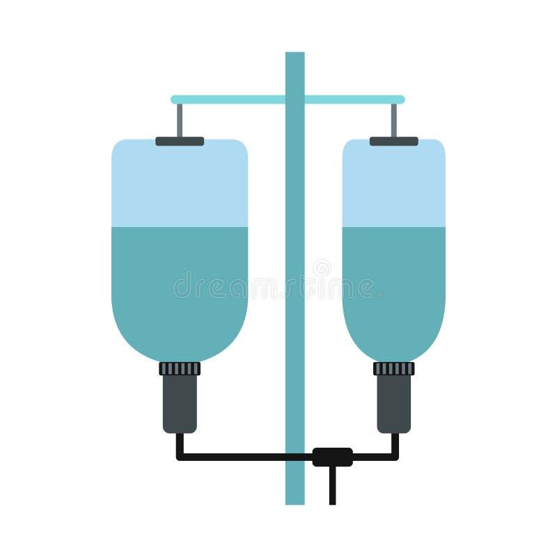 Ícone do gotejamento do hospital IV, estilo liso ilustração royalty free