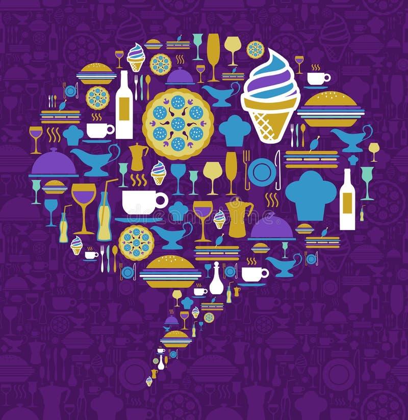 Ícone do gourmet ajustado na forma da bolha do diálogo ilustração royalty free