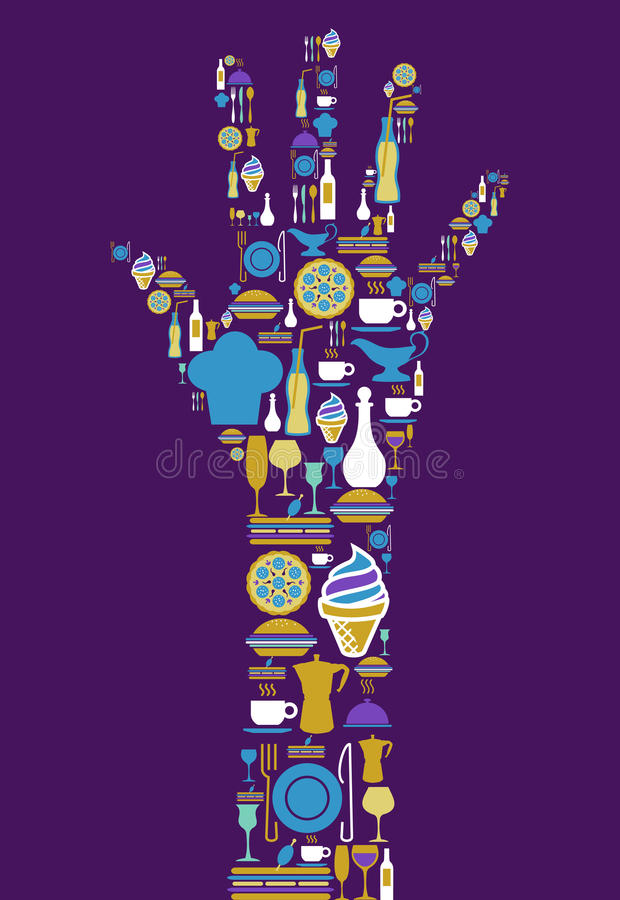 Ícone do gourmet ajustado na mão humana ilustração royalty free