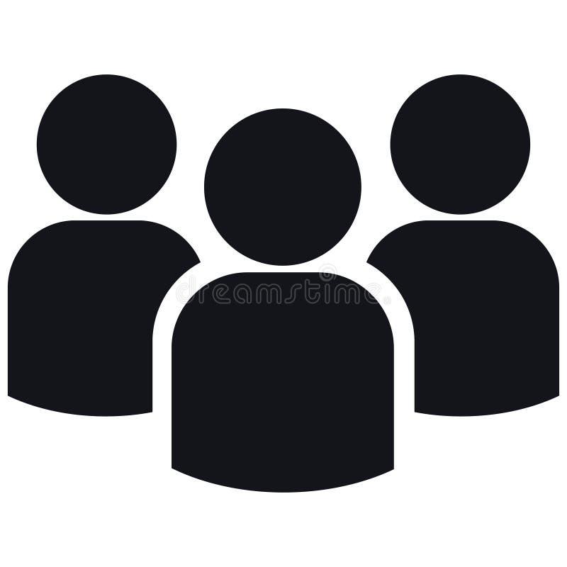 Ícone do grupo de três pessoas das silhuetas ilustração do vetor