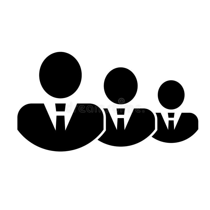 Ícone do grupo de três pessoas das silhuetas Ícone dos empresários - conceito dos trabalhos de equipe & do relacionamento Ícone d ilustração stock