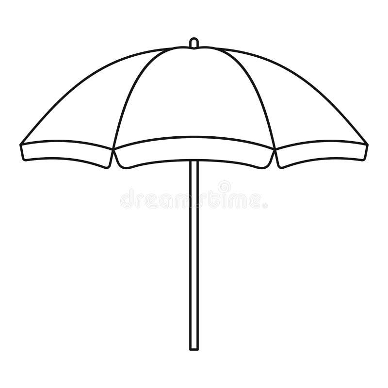 Ícone do guarda-chuva de praia, estilo do esboço ilustração do vetor