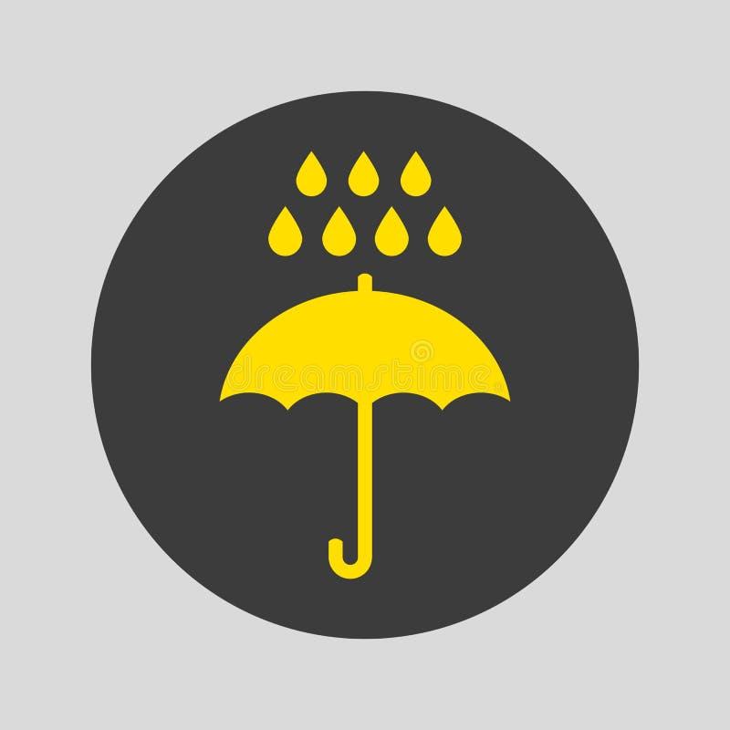 Ícone do guarda-chuva e da chuva no fundo cinzento ilustração royalty free