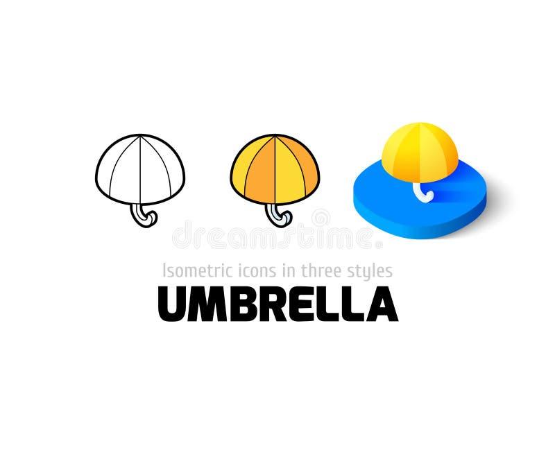 Ícone do guarda-chuva no estilo diferente ilustração stock