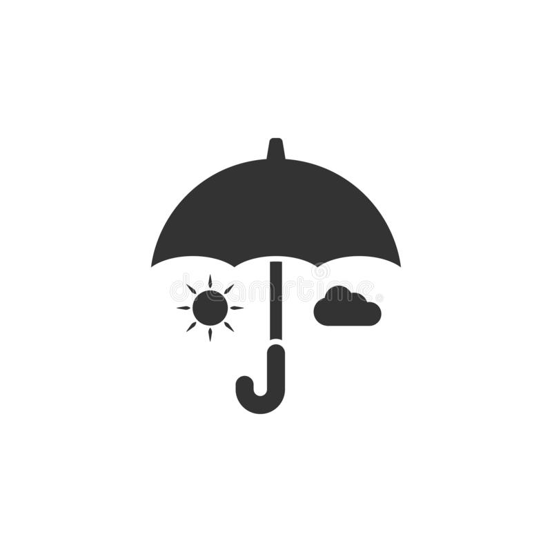 Ícone do guarda-chuva, do sol e da nuvem Elemento do ícone da segurança do Internet para apps móveis do conceito e da Web Guarda- ilustração do vetor