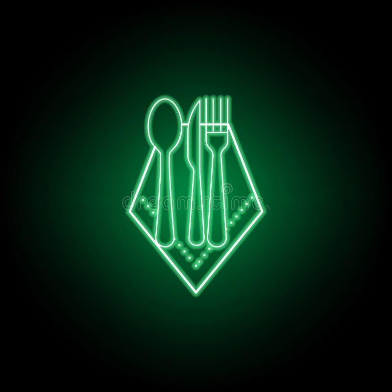 Ícone do guardanapo, da colher, da faca e da forquilha Pode ser usado para a Web, logotipo, app m?vel, UI UX ilustração royalty free