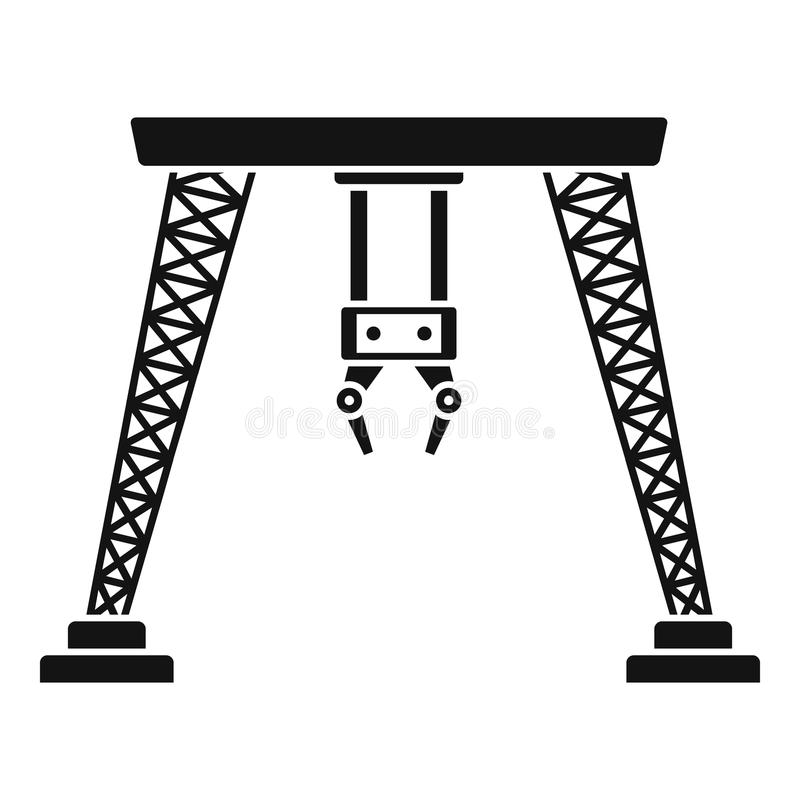 Ícone do guindaste da mão do porto, estilo simples ilustração do vetor