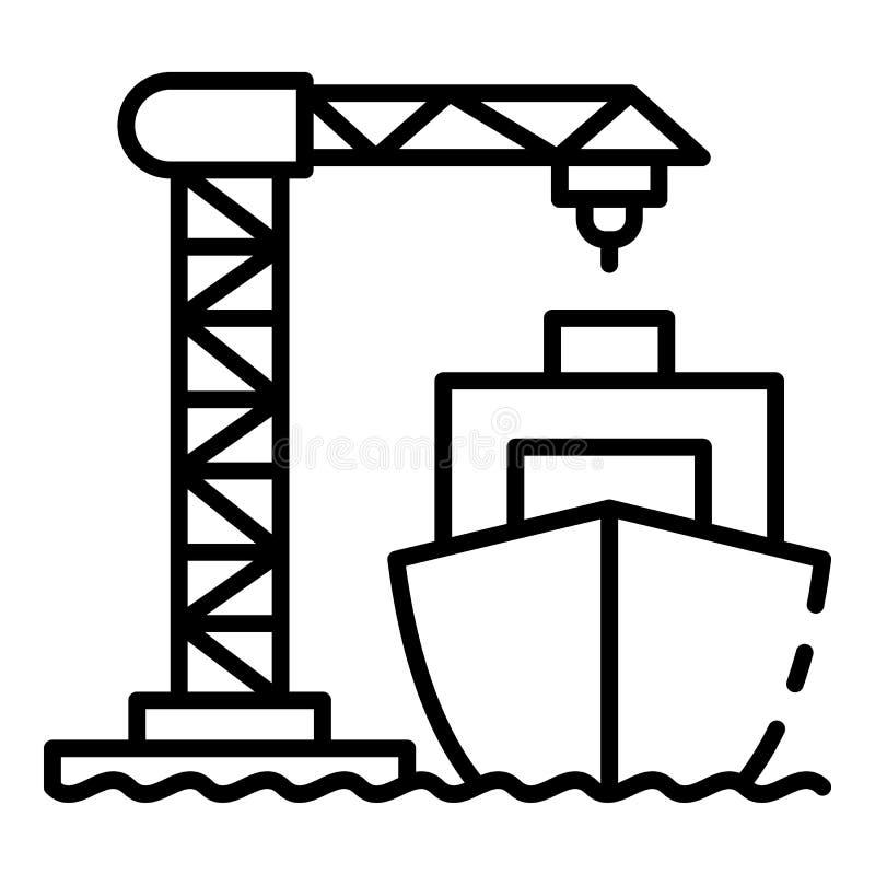 Ícone do guindaste do porto da carga do navio, estilo do esboço ilustração royalty free