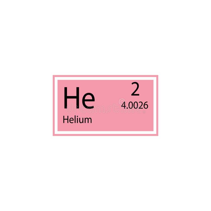 Ícone do hélio do elemento de tabela periódica Elemento do ícone químico do sinal Ícone superior do projeto gráfico da qualidade  ilustração do vetor
