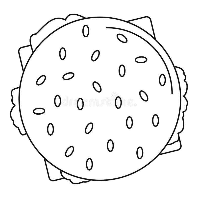 Ícone do Hamburger da vista superior, estilo do esboço ilustração stock