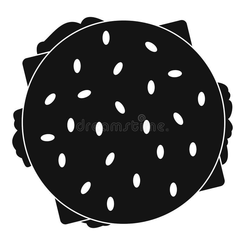 Ícone do Hamburger da vista superior, estilo simples ilustração stock