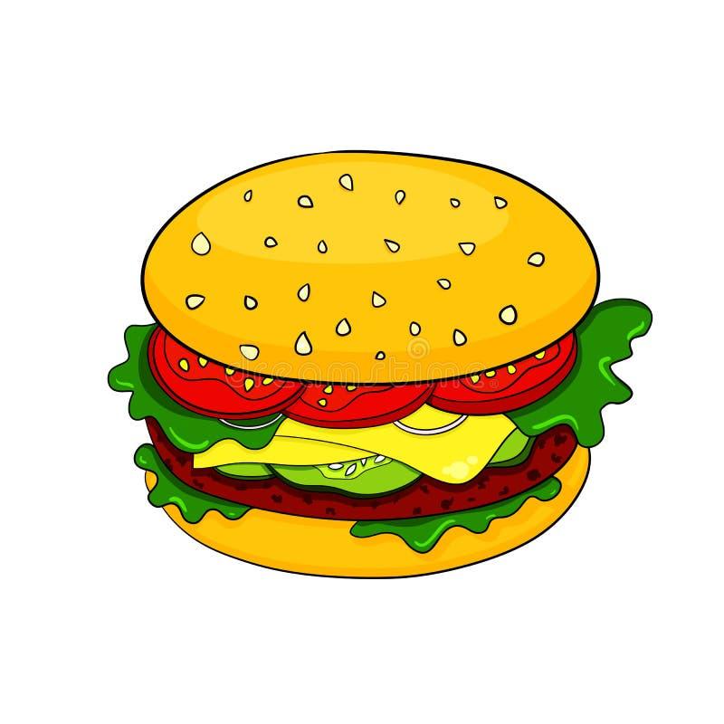 Ícone do Hamburger dos desenhos animados do vetor ilustração do vetor