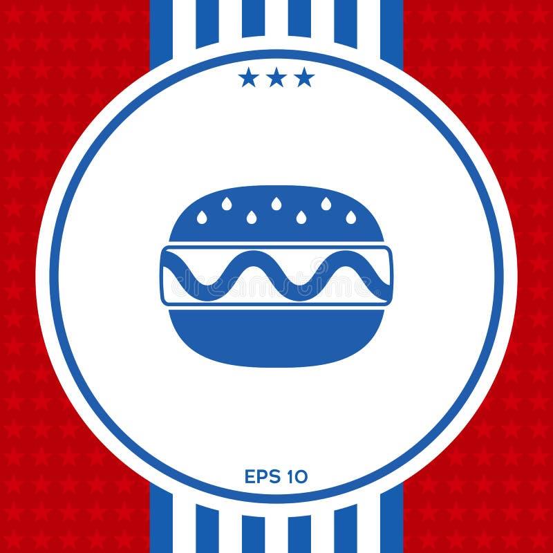 Ícone do Hamburger ou do cheeseburger ilustração do vetor